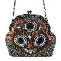 Brown and Rust Hand Beaded Victorian Purse