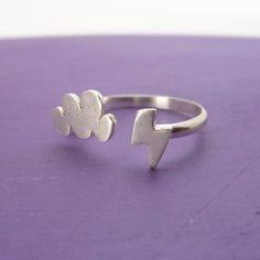 Lighting/Cloud Ring $33.00  Adjustable & adorable!  #etsy