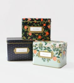 They are here!!!! Rifle Paper Co. Tin Recipe Boxes $34. Which one is YOUR favorite??