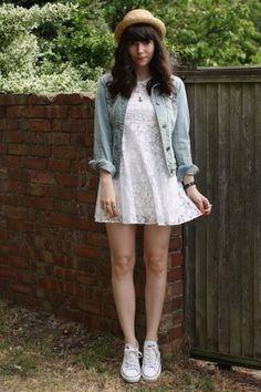 so perfect! straw hat, worn denim jacket, white dress, white converse sneakers.
