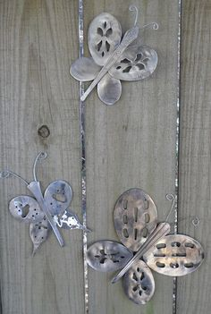 Butterflies made from repurposed silverware