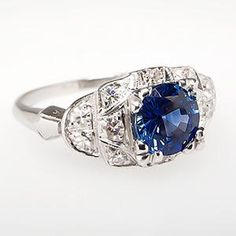 Vintage Sapphire Engagement Ring w/ Single Cut Diamond Accents Platinum