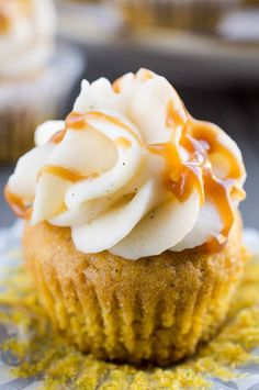 Pumpkin Cupcakes with Sweet Ginger Frosting