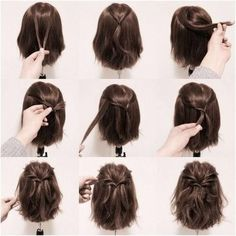 Brown + Half Down Half Up + Half Twisted Ponytail #HairStyles