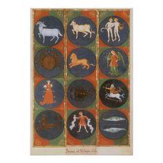 Vintage Astrology, Celestial Zodiac Chart, 1475 Print