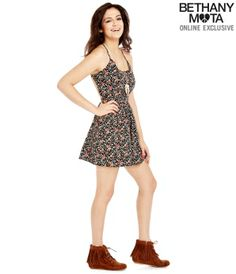 Calico Print Open Back Dress - Summer Bethany Mota Collection