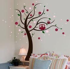 Wandtattoo Eulenbaum Eulen Baum Blumen Blüten M802