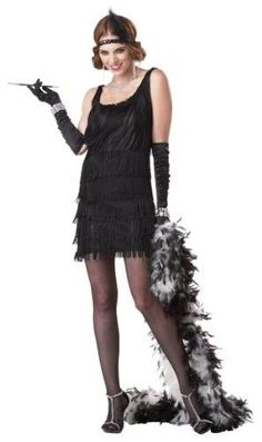 California Costumes Women's Fashion Flapper Costume: This New Flapper is Perfect for any occasion! Costume includes Dress with layered fringe and sequin trim also includes headband with feather. Costume Gatsby, Costume Garçon, Costume Ideas, Gatsby Outfit, 1920s Flapper Costume, Flapper Outfit, Flapper Hair, Flapper Dresses, Halloween Costumes For Teens Girls