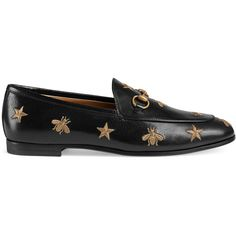Gucci Jordaan Embroidered Leather Loafer (€750) ❤ liked on Polyvore featuring shoes, loafers, flats, moccasins & loafers, women, black leather moccasins, black loafers, leather sole moccasins, gucci shoes and black leather loafers
