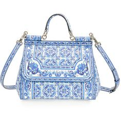 Dolce & Gabbana Miss Sicily Floral-Print Satchel Bag (4930 TND) ❤ liked on Polyvore featuring bags, handbags, top handle satchel, blue handbags, floral satchel handbags, top handle handbags and blue satchel
