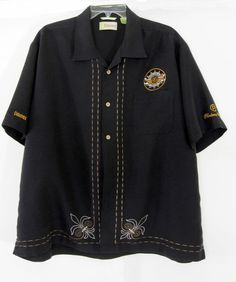 Cubavera Mens Shirt XXL Black Embroidered Perdoma Cigars Logo Edicion De Silvio #Cubavera #ButtonFront