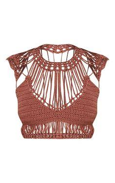 Samanthee Rose Crochet Crop Top - Knitwear - PrettylittleThing | PrettyLittleThing USA