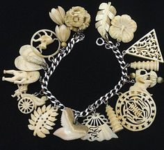 Bracelet with Hand-Carved Ivory Charms
