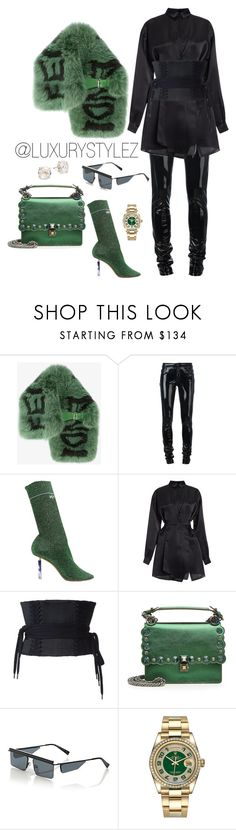 """""""LUXURYSTYLEZ WOMENS FASHION , FALL FASHION"""" by luxurystylez on Polyvore featuring Fendi, Anthony Vaccarello, Vetements, N°21, Alex Perry, Le Specs, Rolex and Kate Spade"""