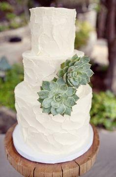 simple succulent wedding cake