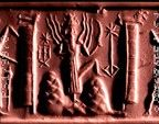 Greenstone cylinder seal; hunting god (full-face) with a bow and an arrow (?) over his shoulder; a quiver with tassel attched hands on his back. On the left hand mountain stands a small tree and Ishtar (full-face), armed with weapons including an axe and a mace rising from her shoulders, winged and holding a bush-like object probably a bunch of dates above the sun-god's head. The sun-god Shamash with rays, holding a serrated blade, is just begining to emerge from between two square topped…