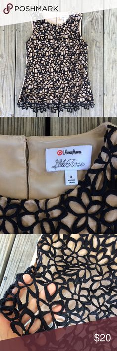 Neiman Marcus for Target Lela Rose Lace Top S Beautiful sleeveless top from Neiman Marcus for Target Lela Rose. Size small. Tan with black lace overlay. Keyhole cut out in the back. Great condition! Neiman Marcus Tops Blouses