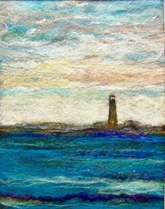 Light house, needle felting can't go wrong with a lighthouse. Wet Felting, Needle Felting, Felt Pictures, Felt Embroidery, Textiles, Wool Art, Landscape Quilts, Felting Tutorials, Felt Art