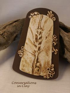 Home-made botanical mold - large polymer clay pendant