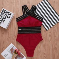 One Piece Swimsuit Red, Black Swimsuit, One Piece Swimwear, Black Monokini, Bikini Workout, Women Swimsuits, 1 Piece, Bathing Suits, Tankini