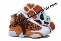 Kids Air Jordan 13 Shoes Leopard White/Yellow For Sale