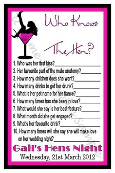 Personalised Hens Night Game Who Knows The Hen? x10
