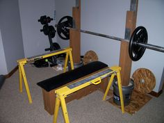 Please visit postingan Diy Bench Press Safety Stands To read the full article by click the link above. Home Made Gym, Diy Home Gym, Diy Gym Equipment, No Equipment Workout, Homemade Bench, Bench Press Weights, Squat Stands, Home Gym Garage, Weight Benches