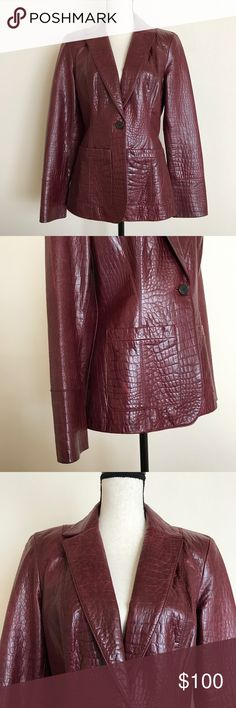 Cole Haan Burgundy Lamb Skin Blazer Jacket Excellent Pre-Owned Condition. Only flaw is Button missing from left Sleeve. Cole Haan Jackets & Coats Blazers