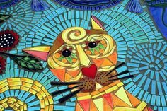 Cute-y Kitty Mosaic ~ love these colors! ~Carrie