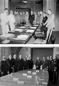 The US & UK Combined Chiefs of Staff Committee 1940s (top) and 2013 (bottom). The UK's most senior military chiefs met with their US counterparts in Washington as a group, bringing them together as a Combined Chiefs of Staff Committee for the first time since 1948.