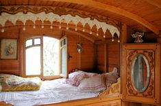 """ℒ~gypsy.vardos.caravans.wagons.rouleotes . https://www.facebook.com/LynBanas.TheIntentionalGardener . We especially love this 182 square foot trailer called La Roulotte – it's meant to offer """"the magical atmosphere of gypsy nights"""" – I think they've accomplished this!"""