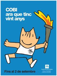 Cartel para la exposición conmemorativa del veinte aniversario de Cobi, la mascota olímpica diseñada por Javier Mariscal (diseñador valenciano, España). 2012.