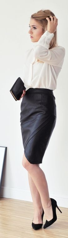 Black Leather Pencil Midi Skirt by Make Life Easier