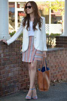 wrap skirt + white blazer
