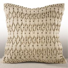 Chauran Aries Chambray Feather and Down-filled 16-inch Pillow with Hand-applied Studs