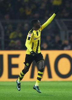 Ousmane Dembele of Borussia Dortmund celebrates scoring his team's opening goal during the Bundesliga match between Borussia Dortmund and FC Augsburg at Signal Iduna Park on December 20, 2016 in Dortmund, Germany.
