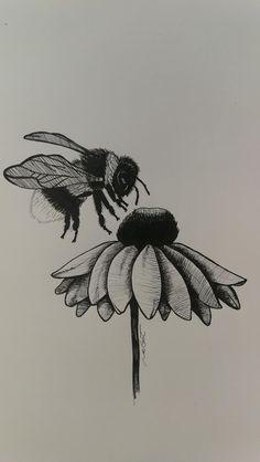 Lamp post Original 5 x 7 Ink drawing Pencil Art Drawings, Art Drawings Sketches, Ink Illustrations, Sketch Art, Bee Sketch, Tattoo Sketches, Bee Drawing, Black Pen Drawing, Drawing Ideas