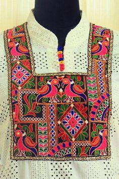Kutch Embroidered yoke on white kurta