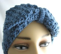 Womens Hand Knit Ear Warmer Bow Country Blue Headband Basket weave
