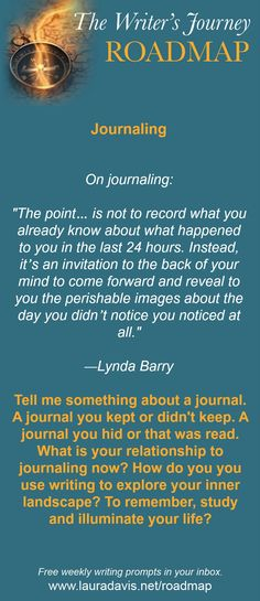 The Writer's Journey Roadmap is a weekly prompt sent out by 7-time author Laura…
