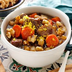 Slow Cooker Moroccan Beef Stew #thinkfisher  #comfortfood http://www.fishernuts.com/recipes/entrees/Slow-Cooker-Moroccan-Beef-Stew