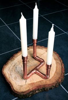 TRIAD Copper Candle Holder Industrial Wedding Candelabra Unique by LittleCopperPot on Etsy