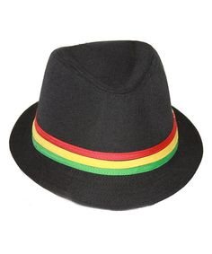 ec316f4f9dc63 Rastafarian Colored Band Fashion Black Fedora Hat CH11CZGX04R