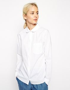 ASOS WHITE Clean Shirt with Pocket Detail