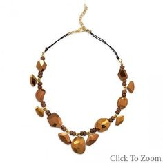 Gold Glass Nugget Fashion Necklace
