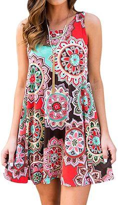 Mmondschein Womens Floral Chiffon Strap Summer Casual Loose Beach Mini Dress