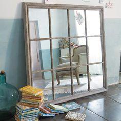 Miroir façon fenêtre gris H 120 cm CAMARGUE