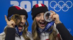 Chloe Dufour Lapointe (R), silver medalist and her sister Justine Dufour Lapointe (L), gold medalist at the 2014 Sochi Winter Olympic Games.inspiration for my girls! Olympic Games For Kids, Winter Olympic Games, Olympic Winners, Winter Olympics 2014, O Canada, Olympians, Father And Son, Kids Learning, Victorious