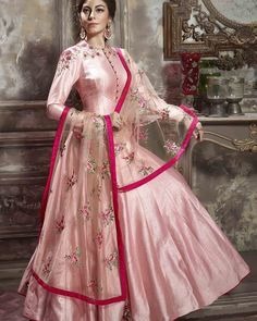 PalkhiFashion Exclusive Full Flair Pink Silk Outfit with Elegant Work and Duppata. Indian Designer Outfits, Indian Outfits, Designer Dresses, Indian Gowns, Pakistani Dresses, Ethnic Fashion, Indian Fashion, Women's Fashion, Classy Fashion
