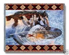 70x54 HORSE Feathers Southwest Tapestry Afghan Throw Blanket